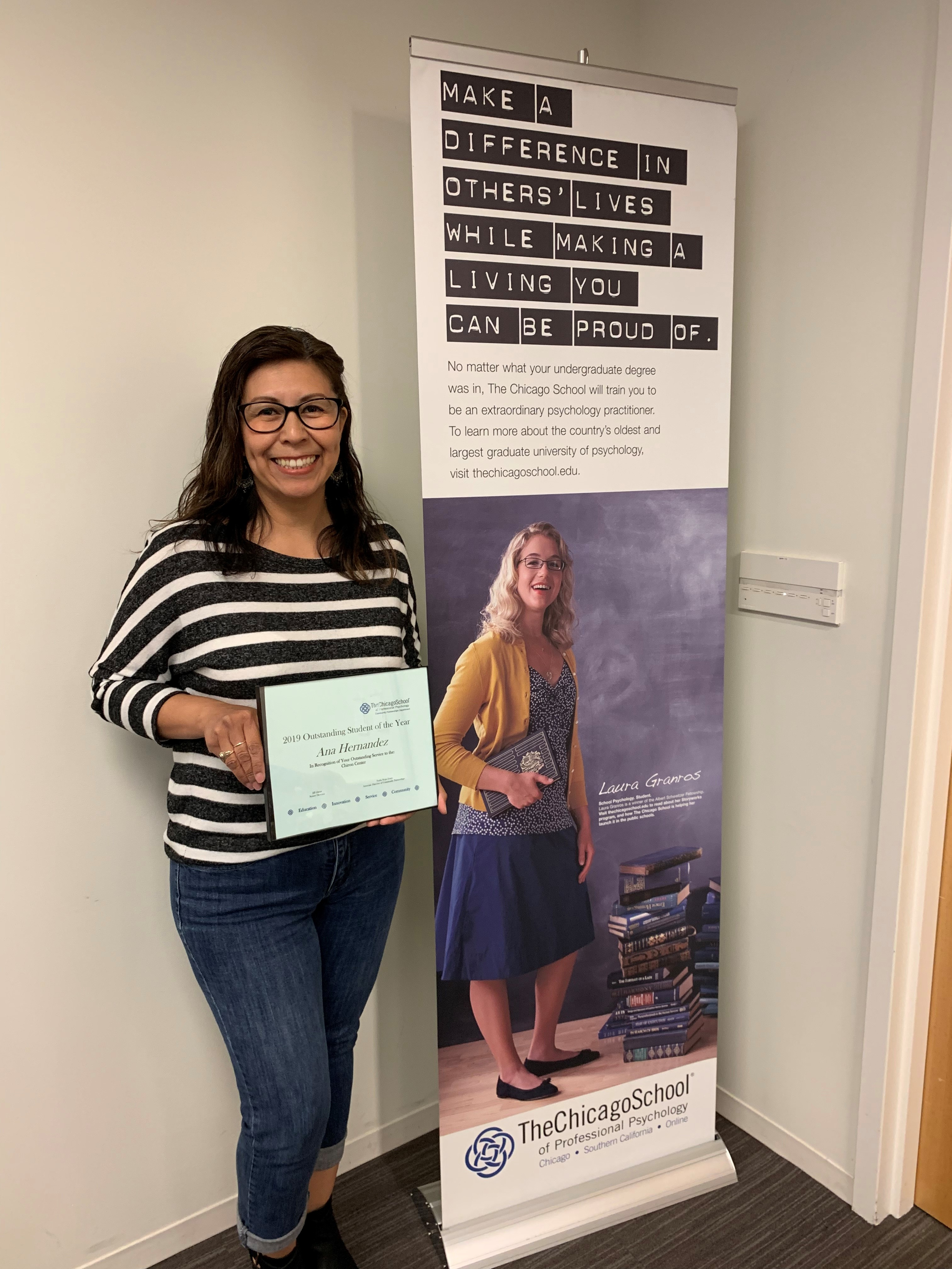 - Outstanding L.A. Student 2019, Ana Hernandez serving with the Chiron Center