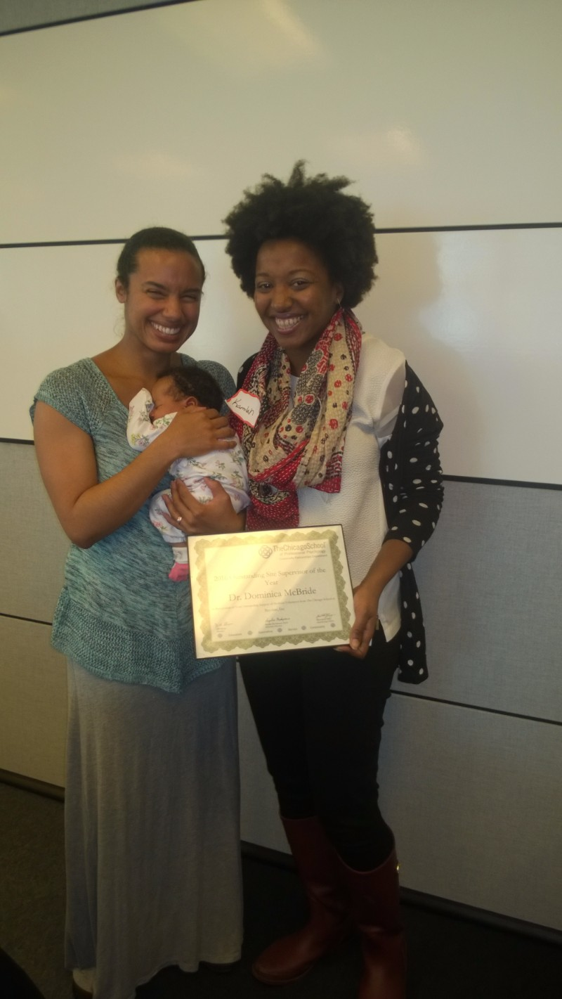 Site Supervisor of the Year - Dominica McBride, Become Inc., pictured with baby Zia & Kamilah Mahon