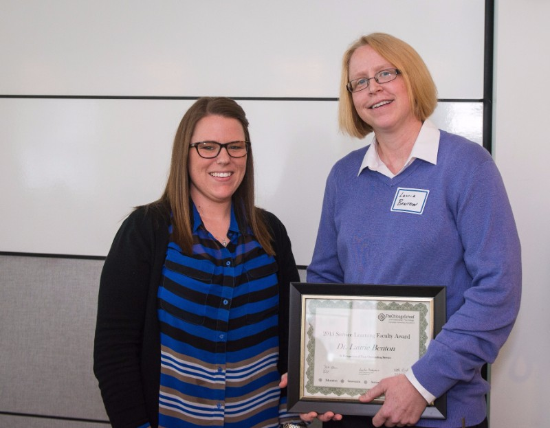 Service Learning Faculty Award - Dr. Laurie Benton, Forensic Psychology department, pictured with Emily Hancock