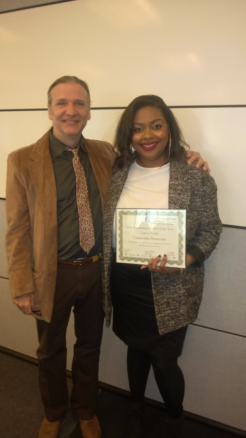 Outstanding Student of the Year - Legacy Award - Cassandra Simmons, Sue Duncan Children's Center, pictured with John Mead