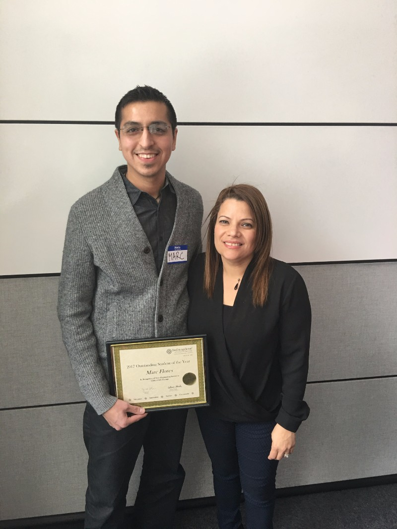 Outstanding Student of the Year - Marc Flores, with Gilda's Club, pictured with Jeanette Santana González
