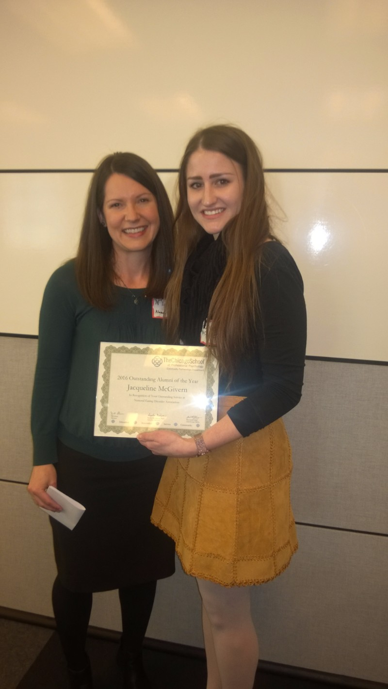 Outstanding Alumni of the Year - Jackie McGivern, National Eating Disorder Association, pictured with Marin Swesey