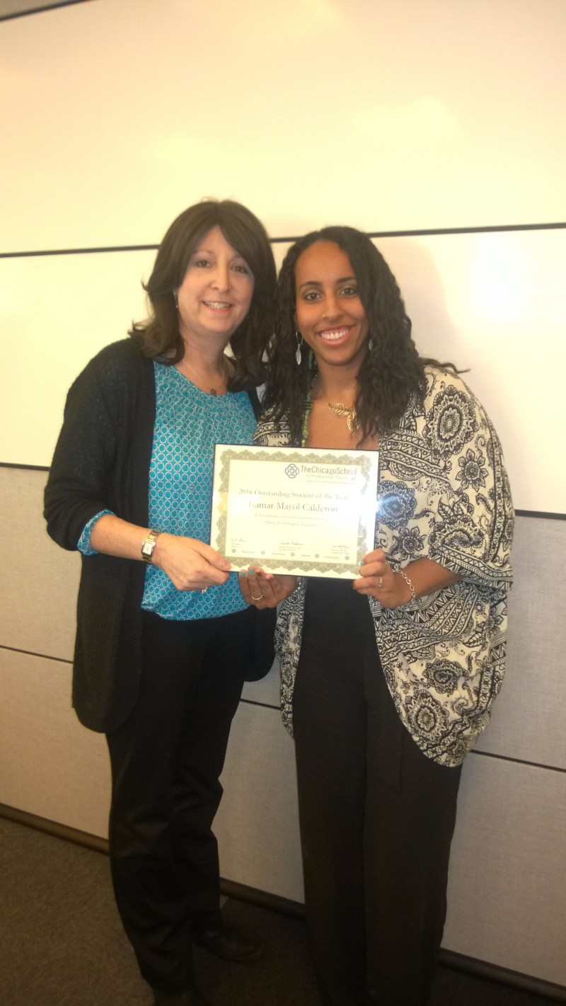 Outstanding Student of the Year - Isamar Mayol Calderon, Illinois Psychological Association, pictured with Marsha Karey