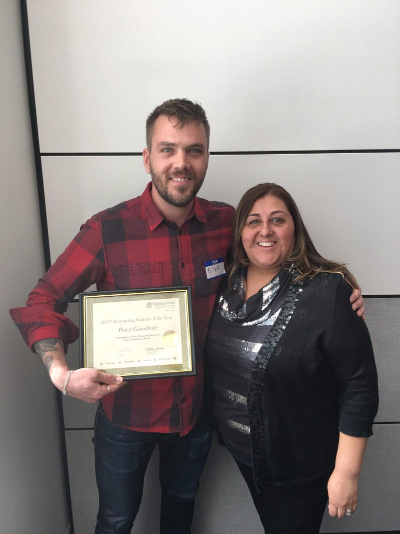 Outstanding Student of the Year - Peter Goodwin, with Erie Neighborhood House, pictured with Wendy Viteri