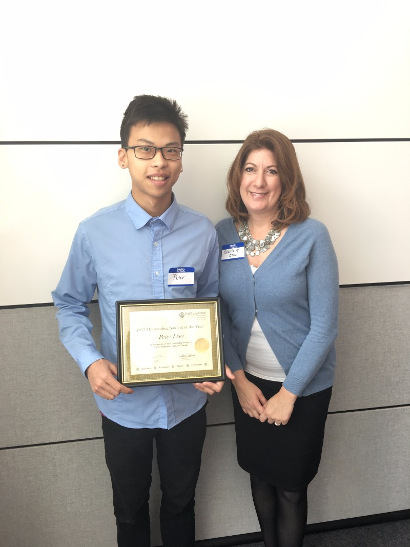 Outstanding Student of the Year - Peter Liao, with Career Transitions Center of Chicago, pictured with Nadia Whiteside