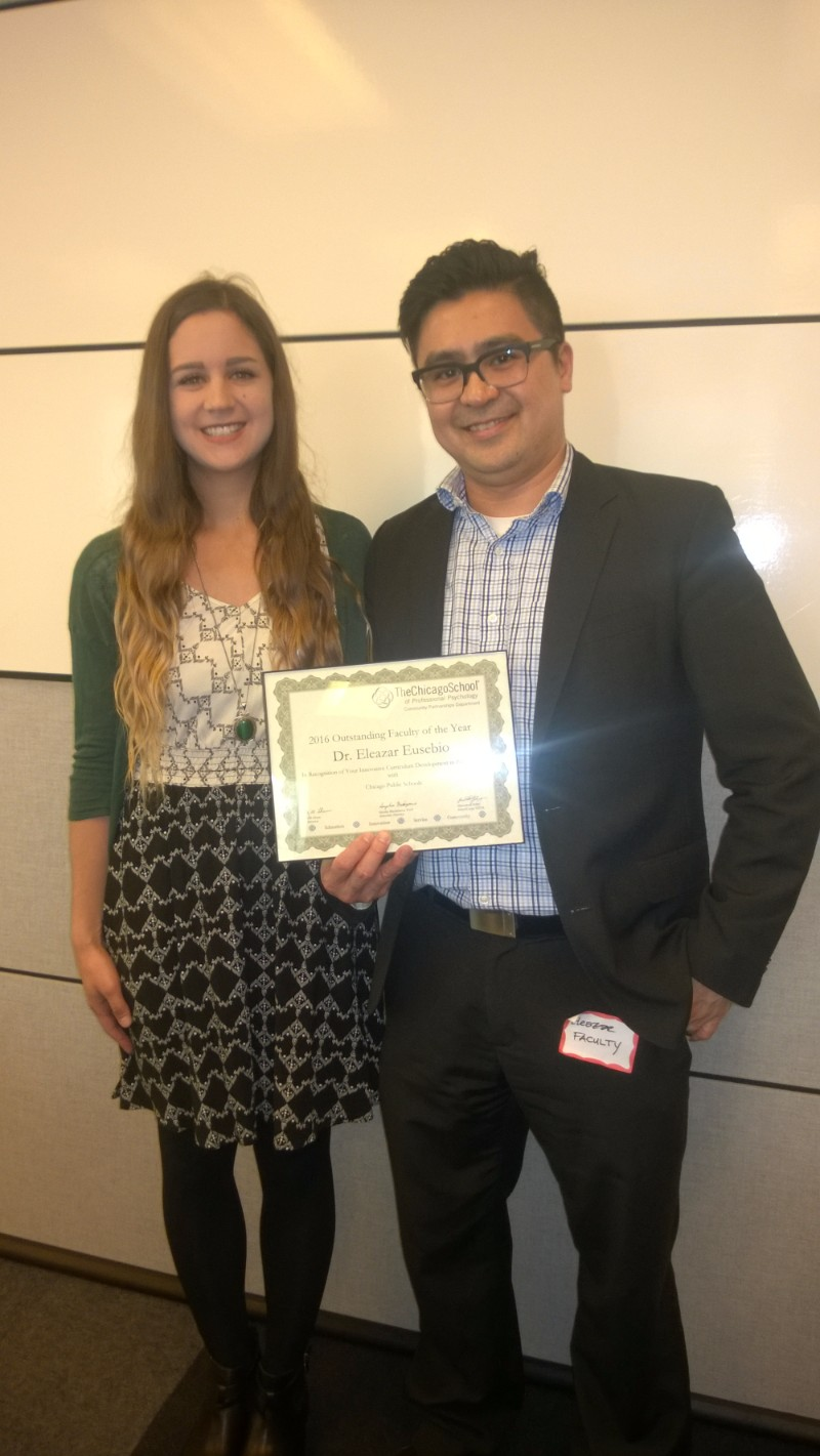 Outstanding Faculty of the Year - Dr. Eleazar Eusebio, Chicago Public Schools Mentoring Program, pictured with Rachel Hunter