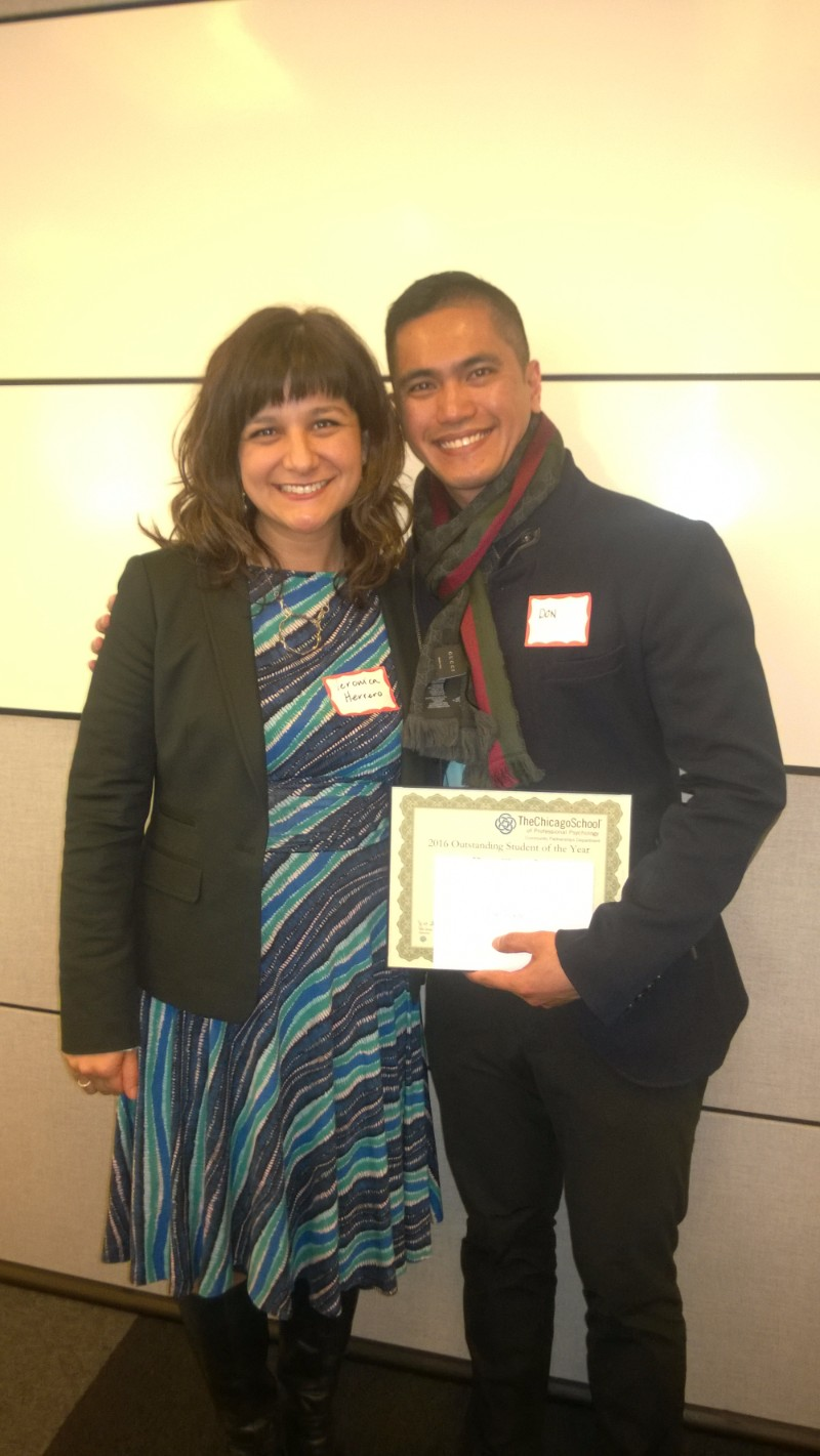 Outstanding Student of the Year - Don Togade, One Million Degrees, pictured with Veronica Herrero