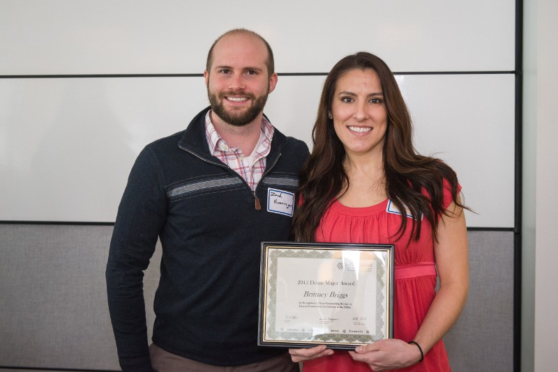 Drum Major Award - Brittney Briggs, Illinois Connections for Families of the Fallen, pictured with Zach Hunsinger